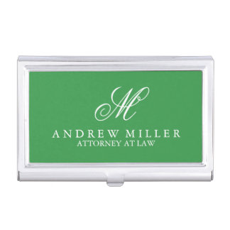 Elegantes berufliches grünes Monogramm Visitenkarten-Halter