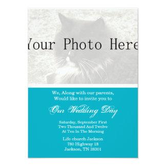 Elegantes Blau, das Ihre Foto-Hochzeit einlädt 14 X 19,5 Cm Einladungskarte