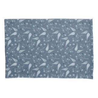 Elegantes Blau-Graues Blatt-u. Beeren-Muster Kissenbezug