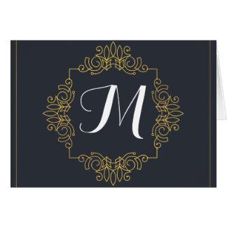 Elegantes Blau-und Goldmonogramm | kommen Ihre Karte