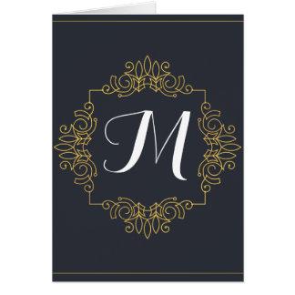 Elegantes Blau-und Goldmonogramm   kommen Ihre Karte