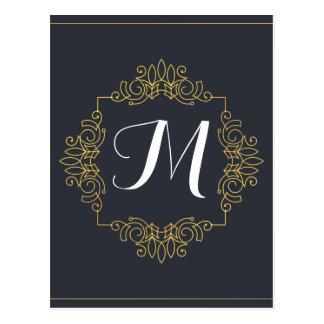 Elegantes Blau-und Goldmonogramm | kommen Ihre Postkarte
