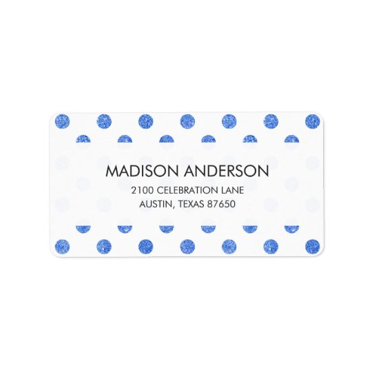 Elegantes blaues Glitter-Polka-Punkt-Muster Adressetiketten