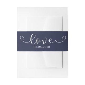 Elegantes blaues und weißes Bauch-Band Einladungsbanderole