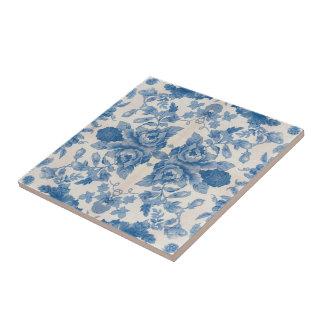 Elegantes blaues Vintages Blumen Kleine Quadratische Fliese