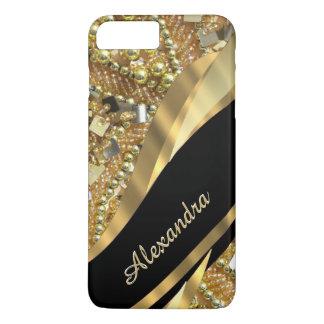 Elegantes bling Schwarzes und Gold des iPhone 8 Plus/7 Plus Hülle