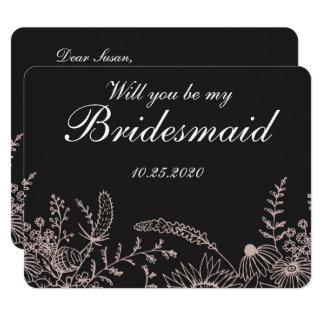 Elegantes Blumen auf schwarzer 10,8 X 14 Cm Einladungskarte