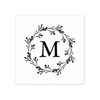 Elegantes BlumenKranz-Monogramm Gummistempel