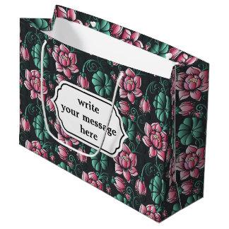 Elegantes Blumenmuster rosa Lotus-Motivs Große Geschenktüte