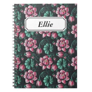 Elegantes Blumenmuster rosa Lotus-Motivs Spiral Notizblock