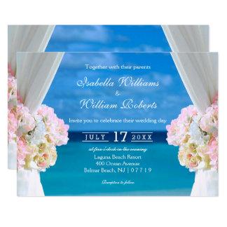 Elegantes Blumenozean-Strand-Sommer-Hochzeits-Tor 12,7 X 17,8 Cm Einladungskarte