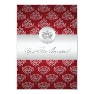 Elegantes Brautparty-königliches Kronen-Rot 12,7 X 17,8 Cm Einladungskarte