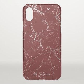 Elegantes Burgunder-Marmorierungpersonalisiertes iPhone X Hülle