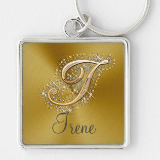 Elegantes Diamantmonogramm keychain Schlüsselanhänger