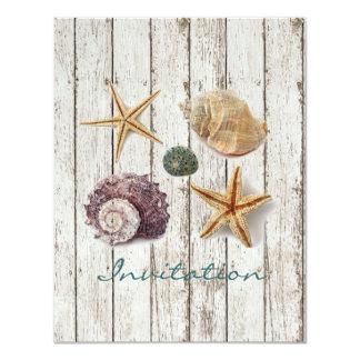 elegantes Dock hölzerne Seashells-Strandhochzeit 10,8 X 14 Cm Einladungskarte