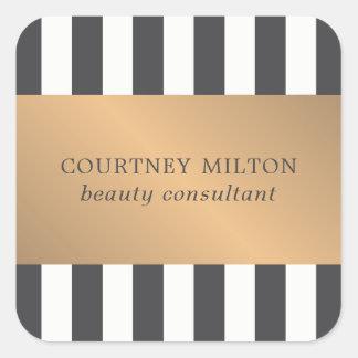 Elegantes dunkles Imitat-Gold Stripes Quadratischer Aufkleber
