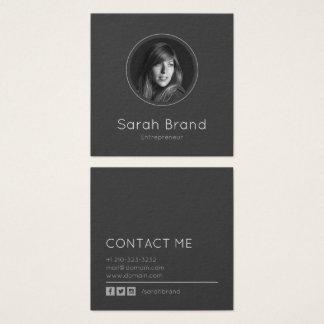 Elegantes dunkles persönliches Foto Quadratische Visitenkarte
