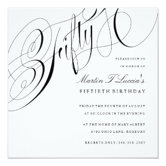 Elegantes fünfzigstes Geburtstags-Party Quadratische 13,3 Cm Einladungskarte