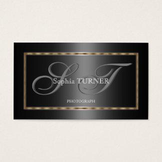 Elegantes geometrisches Goldgraues schwarzes Visitenkarte