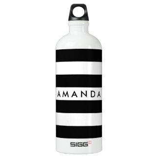 Elegantes gestreiftes Schwarzweiss-kundengerechtes Wasserflasche