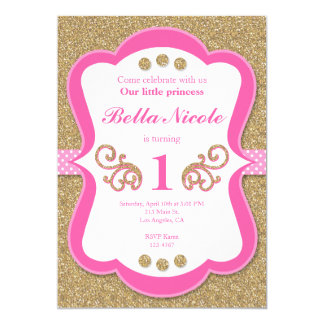 Elegantes Glitter-Gold u. rosa Karte