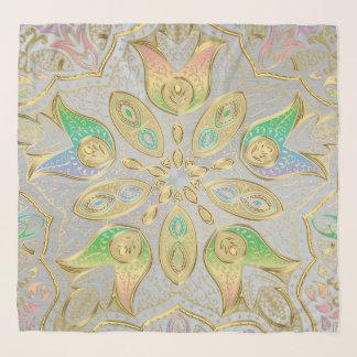 Elegantes Gold und PastellMandala-Chiffon- Schal