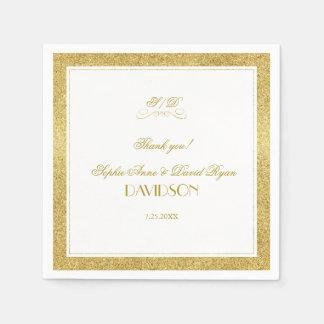 Elegantes Gold und weiße GrenzAbends-Hochzeit Papierserviette