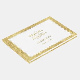 Elegantes Gold und weiße Grenzhochzeit Gästebuch