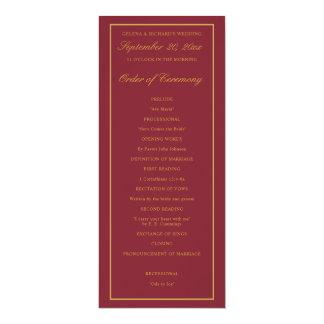 Elegantes Goldgrenzburgunder-Hochzeits-Programm Karte