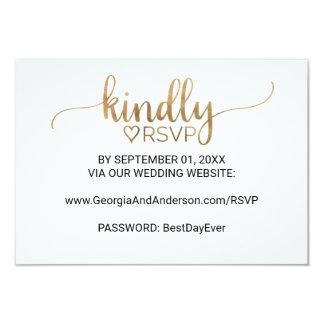 Elegantes Goldkalligraphie-Hochzeits-Website UAWG 8,9 X 12,7 Cm Einladungskarte