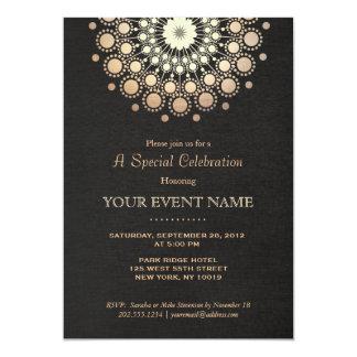 Elegantes Goldkreis-Motiv-Schwarz-Leinenblick 12,7 X 17,8 Cm Einladungskarte