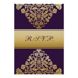 elegantes Goldlila Hochzeit UAWG Standard 3,5 x 5 Individuelle Einladungskarten