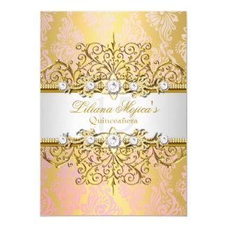 Elegantes Goldrosa-Vintager Glamour Quinceanera 12,7 X 17,8 Cm Einladungskarte