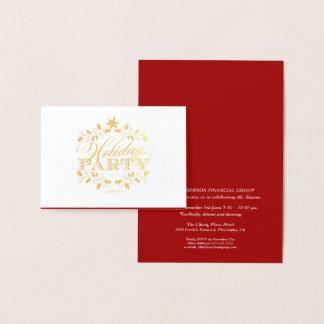 Elegantes Goldunternehmensfeiertags-Party Folienkarte