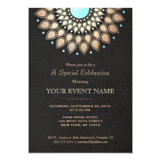 Elegantes Goldverziertes Motiv-Schwarz-Leinenblick 12,7 X 17,8 Cm Einladungskarte