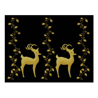 Elegantes Goldweihnachtsren-Feiertagsjahresende Postkarte