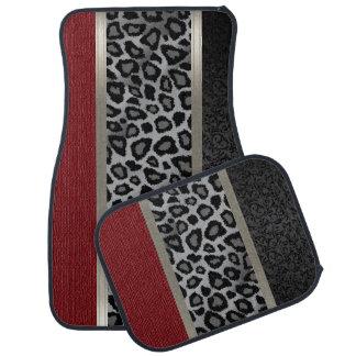 Elegantes Graues, Rot und Leopard-Tierentwurf Automatte