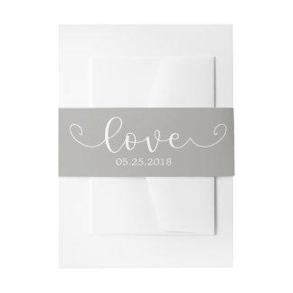 Elegantes graues und weißes Bauch-Band Einladungsbanderole