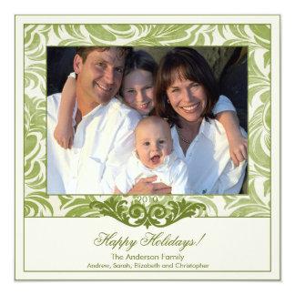 Elegantes Grün blühen WeihnachtsFoto-Karte Quadratische 13,3 Cm Einladungskarte
