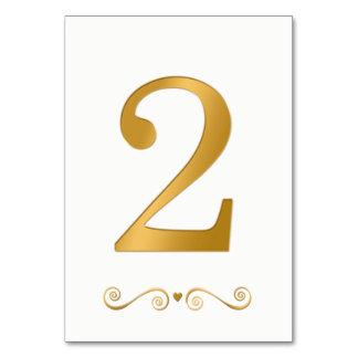 Elegantes helles Gold Imitat-metallische Zahl 2 Karte
