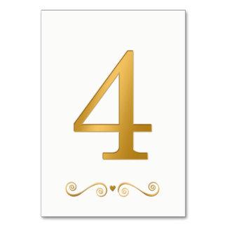Elegantes helles Gold Imitat-metallische Zahl 4 Karte