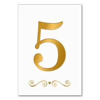 Elegantes helles Gold Imitat-metallische Zahl 5 Karte