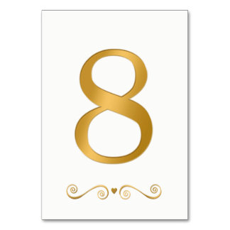 Elegantes helles Gold Imitat-metallische Zahl 8 Karte