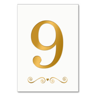 Elegantes helles Gold Imitat-metallische Zahl 9 Karte