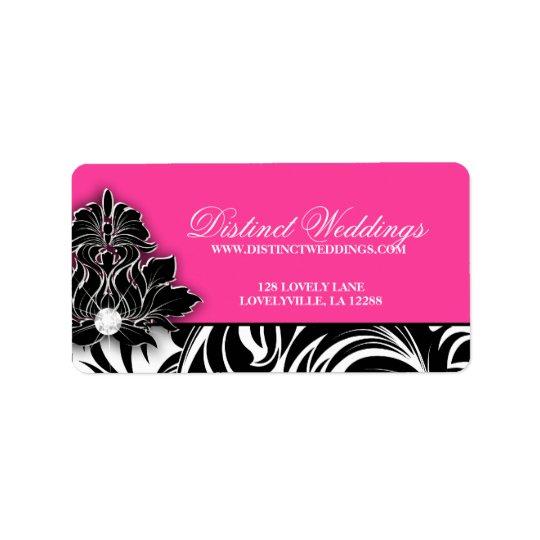 Elegantes Hochzeits-Aufkleber-Schmuck-Logo-Rosa Adressaufkleber