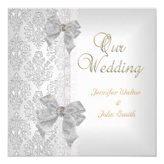 Elegantes Hochzeits-Damast-Silber-weißes Bogen-Set Quadratische 13,3 Cm Einladungskarte