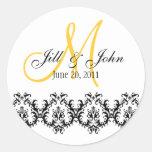 Elegantes Hochzeits-Gelb-Monogramm Save the Date Runder Sticker