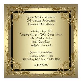 Elegantes Hochzeits-Jahrestags-Party des Gold50. Karte