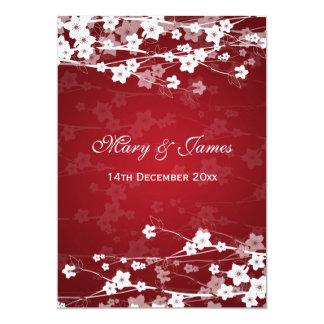 Elegantes Hochzeits-Kirschblüten-Rot 12,7 X 17,8 Cm Einladungskarte