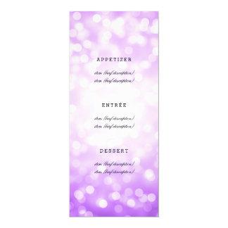 Elegantes Hochzeits-Menü-lila Glitter-Lichter 10,2 X 23,5 Cm Einladungskarte